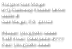 Natpro San Diego 675 Gateway Center Drive Suite B San Diego, CA 92102 Phone: (619)281-6600 Toll Free: (866)662-8777 Fax: (619)281-6606